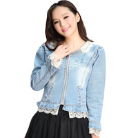 [TC] New 2013 autumn -summer women's slim denim outerwear female pearl long-sleeve spring and autumn short jacket female