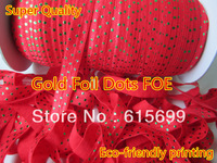 Free shipping 100Yards /roll elastic roll green foil dots red ribbon for Hair accessories