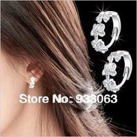 Free shipping Pure silver earrings 925 anti-allergic Women flower ear buckle stud earring accessories  Wholesale Wedding Jewelry