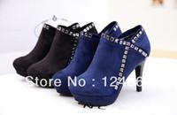 New arrivals restore ancient ways women boots Velvet rhinestone metal zipper black/blue women ankle boots On sale