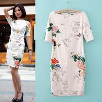 Free shipping 2014 women dresses, OL sexy mature dress for women,Sheath Slim dresses,printing Cheongsam,Vintage style