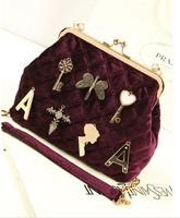 2013 fashion women's velvet chain bag exquisite hangings brief one shoulder lady cross-body bag women handbag G4590