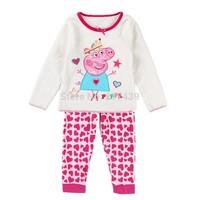 Free shipping! Peppa Pig girl girls Coral Velvet Embroidery long sleeve t shirt top + pants pajamas pyjamas Pyjama 8 sets/lot