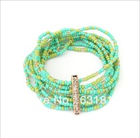 Min.order is $15  Bohemia sea wind of beads multilayer elastic bracelet Free shipping