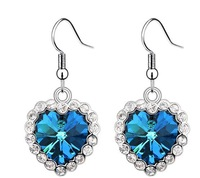 Navy Blue Crystal Drop Earring Heart Earring For Sale