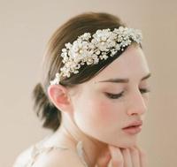 New Handmade Bride Golden Crystal Pearl Flower Hairband Brand Luxury Wedding Hair Accessories Bridal Tiara Headband WIGO0177