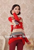 Free shipping Women explosion models fawn needle woven shirt big yards long sleeve irregular fat MM sweater