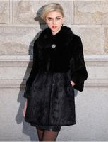 Lady Luxurious Genuine Whole-hide Rex Rabbit Fur Coat With Large Fox Fur Collar Jacket  TP9031