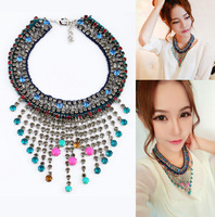 free shipping Top Quality of 2013 new design LUX Jewelry, big brand and star new crystal tassel statement and shambhala necklace