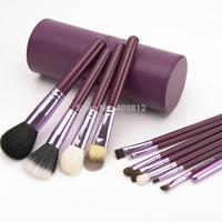 Drop shipping -Professional  wholesale price New Purple Professional Makeup Brush Set 12 pcs Kit w/ Leather Cup Holder Case kit