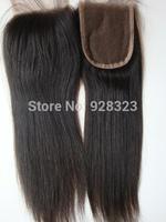 "Peruvian Hair Straight 4x4 Lace  Closure with Bleached Knots 8"" Hair  Free part top Closure allAvailable peruvain virgin hair"