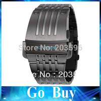 Free shipping Hot Sale DZ7080 DZ7111 DZ7112 men's fashion LED watch stainless steel Wristwatches+white original box