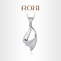 ,103029582 ROXI Fluttering Ribbon necklace platinum plated with CZ diamonds,fashion Environmental Micro-Inserted Jewelry