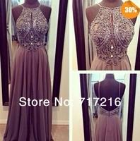 2014 Free Shipping charming Cheap Elegant Halter Sleeveless A-line Chiffon Beading  Lavender Purple Prom Dresses Evening Dresses