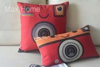 "Free Shipping 2 pcs/lot 18"" 20"" Red Camera Design Retro Vintage Linen Decorative Pillow Case Pillow Cover Cushion Cover Set"