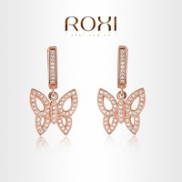 ROXI  Rose gold butterfly Earrings platinum plated with AAA zircon,fashion Environmental Micro-Ins0erted Jewelry,1020341134