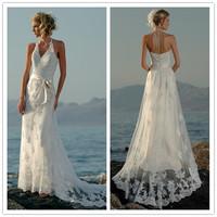 2014 New Free Shipping Beading V Neck Halter Court Train Bows Lace White / Ivory Beach Wedding Dresses # 1133