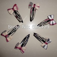 6923 Free shipping hot fashionable british style bow bowknot bobhair pins plaid cover hair clips barrettes for women and girls 6