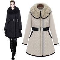 2013 winter new European and American big long section of small fragrant wind thickening Slim cotton padded jacket cotton-padded