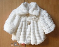 Hot 2013 autumn and winter wool flower jacket Faux Fur coat cape coat shawl waistcoat suitable for 2 - 4 years old baby girl