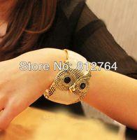 Vintage retro pop punk owl shaped enamel wide bangles Owl style bracelets Men&Women La pulsera de buho brazalete coruja pulseira