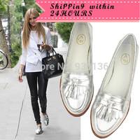 Free Shipping 2014 Street Fashion Women Flats Metallic Silver Round Toe Tassel Good Quality Sheepskin Flat Casual Shoes