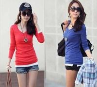 Free Shipping 2013 Spring Autum Korean Style WomanTop High Fashion Womens Clothing Shirt Slim Cotton  Full Sleeve Cute Basic Tee
