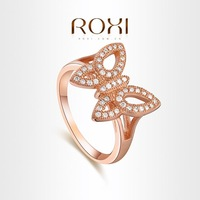 ROXI  Exquisite Rose gold butterfly Rings platinum plated with Cubic zirconia diamonds,fashion Micro-Inserted Jewelry,101026552