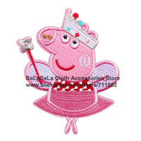 NEW ! 7.7*10.3cm piggy 2013 kid boutique peppa pig patches embroidered patch beaded applique iron- on patch wholesale 100pcs/lot