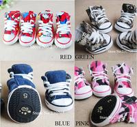 High Quality 4pcs/lot Pet Dog Cat Footwear, Dog Walking Sneaker Shoes, Anti-skidding Camouflage Denim Canvas Shoes Free Shipping