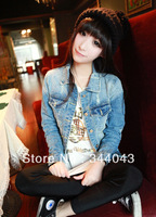 Four Seasons wild long-sleeved denim jacket scratch marks in Europe and America Fan shorts denim shirt dress