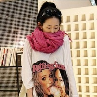 scarf female spring and autumn solid color fluid pleated female long scarf set silk scarf cape women 2013 new style