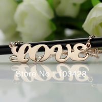 Freeshipping-Cream Puff Name Necklace All Capital Letters Pendant Rose Gold Nameplate Necklace Personalized Jewelry