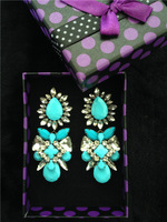 Shourouk style sky blue earrings shourouk earrings long 2013 colorful gems finishing emerald crystal pendant earrings