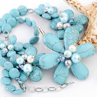 Free Shipping! Blue Turquoise Flower Necklace 18 Inch ND399149