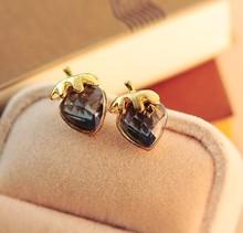 Korean Jewelry 3 Color Full Rhinestone Black Red Blue Pearl Small Peach Heart Love Stud Earring