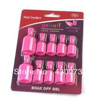10pcs/bag Wearable Salon Acrylic Nail Polish Remover Soak Soakers Cap Tool Pink UV Gel Free Shipping