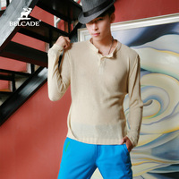 Long-sleeve sweater male fashion o-neck pullover sweater cutout male slim sweater male basic shirt