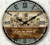 34cm vintage rustic large circular wall clocks safe home decor bedroom kitchen wood crafts butterfly print novelty households