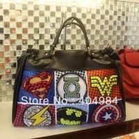 FREE SHIPPING one shoulder women's handbag messenger bag rhinestone rivets fashion bag