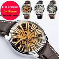 2014 Original Eyki Luxury Fashion Genuine Leather Band Skeleton Automatic Self Wind Mechanical Men Dress Watches Male Wristwatch
