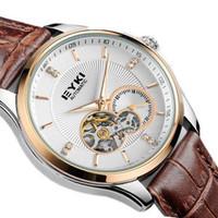 2014 Famous Brand Eyki Luxury Fashion Leather Band Skeleton Automatic Self Wind Mechanical Men Dress Watches Wrist Watch  8629
