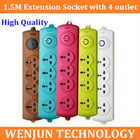 Personality POWER STRIP  Free Shipping Universal extension socket with 4 outlet wire 1.5M  PLUG  adapter