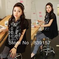 Min.order is $10(mixi items)Free Shipping! 2013 Fashion printed skull skeleton long Chiffon scarf for women Shawl pashmina scarf