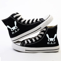 KPOP B.A.P Buck Korean Unisex High-Top Canvas Shoes Casual Lace Up Black Flat Shoes FBX018