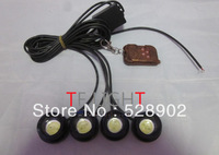 free shipping led drl 4*3W strobe flash eagle eye LED car light with Remote control 100% waterproof DRL warning light bulb white