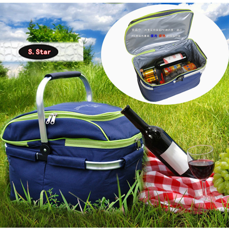 outdoor picnic basket picnic bag ice pack insulation bag cooler box food basket 45*28*35cm(China (Mainland))