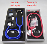 Free shipping CE Approved deluxe professional stethoscope NEW Medical Clinical Stethoscope General box packaging  2PCS/LOT