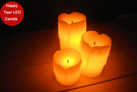 """Funlife Hot Sale 2"""" 3"""" 4"""" 3pcs Wedding Party Candle Happy Tear Ivory LED Candle Paraffin Wax Candle Decor Free Shipping N1058"""