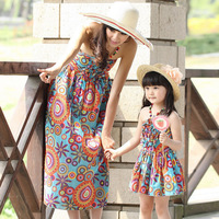 Freeshipping 2014 New Family Summer Children's Clothing Girls Print Bohemia Belt Beach Dresses Clothes For Mother And Daughter